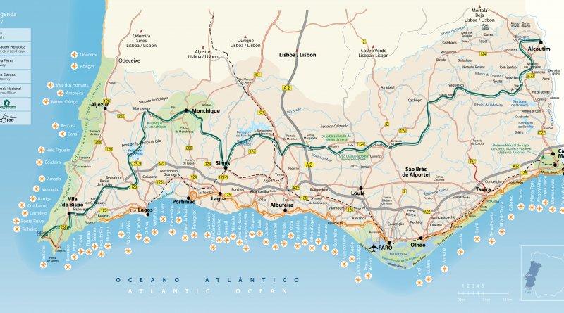 Karte Andalusien Portugal.Algarve Karte überblick Und Orientierungshilfe Algarve Für Entdecker