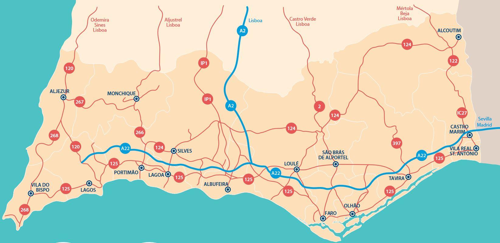 algarve-karte-strasen-und-landkreise