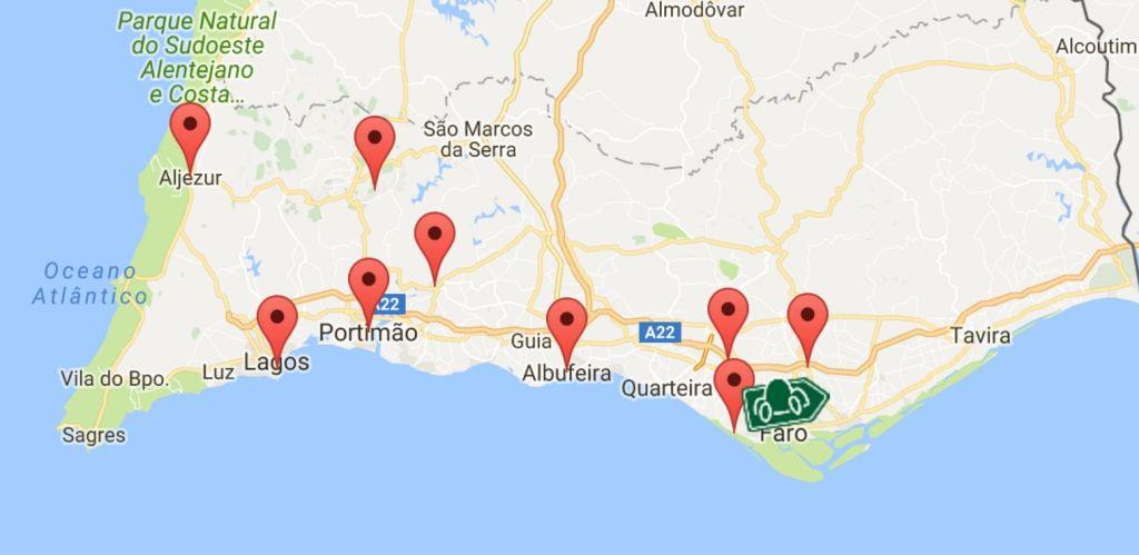 Billiger Mietwagen Algarvekarte