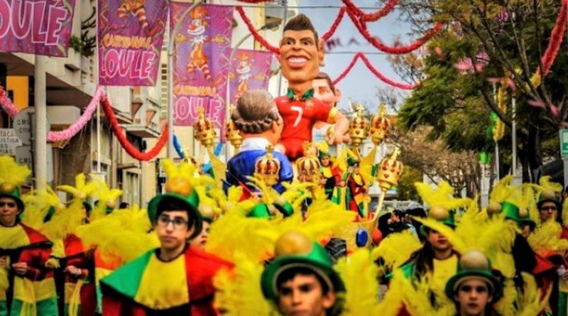 Centeno, Merkel und Ronaldo im Algarve-Karneval 2018 in Loule