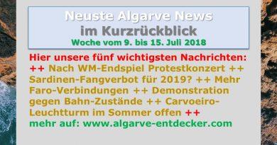 Algarve News aus KW 28 vom 9. bis 15. Juli 2018