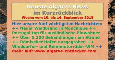 Algarve News aus KW 37 vom 10. bis 16. September 2018