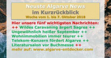 Algarve News aus KW 40 vom 1. bis 7. Oktober 2018