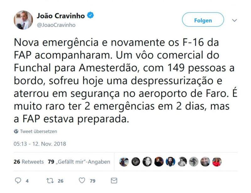 Notlandung von Transavia-Maschine in Faro durch Verteidigungsminister getwittert