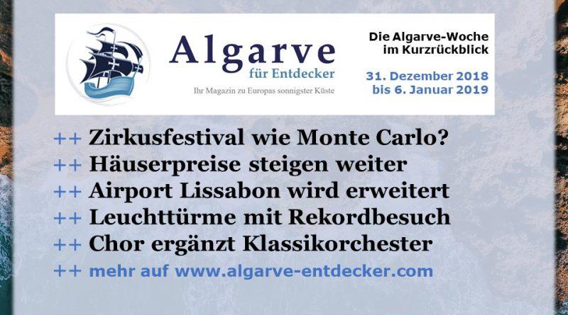 Algarve News aus KW 1 vom 31. Dezember 2018 bis 6. Januar 2019