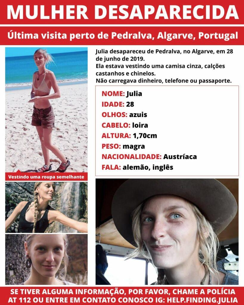 Österreicherin Julia W. an Algarve vermisst Suche mit Plakat