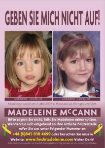 Madeleine McCann Poster Urlauber deutsch