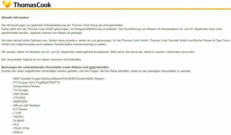 Thomas Cook-Pleite auf deutscher Webseite erläutert