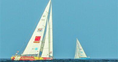 Algarve-Klippen im Hintergrund des Rennens für Segelyachten