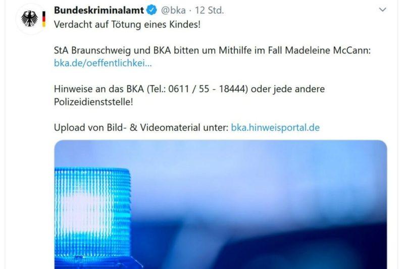 Madeleine McCann Bundeskriminalamt Zeugenaufruf Twitter