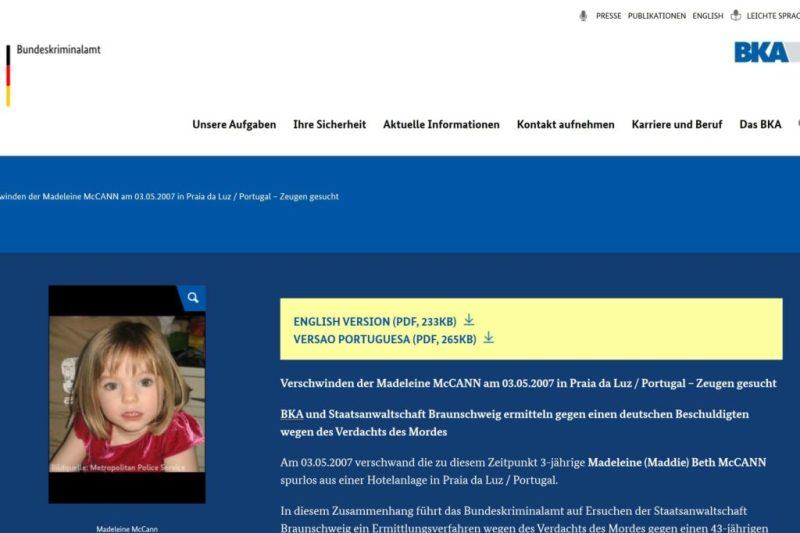 Madeleine McCann Bundeskriminalamt Webseite